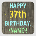 [ Thumbnail: Faux Wood, Painted Text Look, 37th Birthday + Name Sticker ]