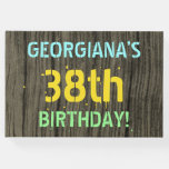 [ Thumbnail: Faux Wood, Painted Text Look, 38th Birthday + Name Guest Book ]