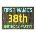 [ Thumbnail: Faux Wood, Painted Text Look, 38th Birthday + Name Invitation ]