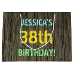 [ Thumbnail: Faux Wood, Painted Text Look, 38th Birthday + Name Gift Bag ]