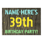 [ Thumbnail: Faux Wood, Painted Text Look, 39th Birthday + Name Invitation ]
