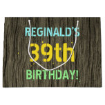 [ Thumbnail: Faux Wood, Painted Text Look, 39th Birthday + Name Gift Bag ]