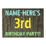 [ Thumbnail: Faux Wood, Painted Text Look, 3rd Birthday + Name Invitation ]