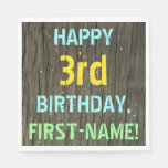 [ Thumbnail: Faux Wood, Painted Text Look, 3rd Birthday + Name Napkin ]