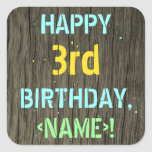 [ Thumbnail: Faux Wood, Painted Text Look, 3rd Birthday + Name Sticker ]