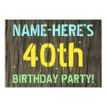 [ Thumbnail: Faux Wood, Painted Text Look, 40th Birthday + Name Invitation ]