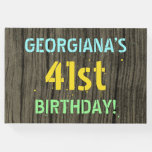 [ Thumbnail: Faux Wood, Painted Text Look, 41st Birthday + Name Guest Book ]