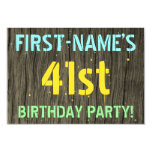 [ Thumbnail: Faux Wood, Painted Text Look, 41st Birthday + Name Invitation ]