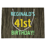 [ Thumbnail: Faux Wood, Painted Text Look, 41st Birthday + Name Gift Bag ]
