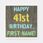 [ Thumbnail: Faux Wood, Painted Text Look, 41st Birthday + Name Napkin ]