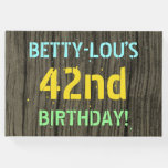 [ Thumbnail: Faux Wood, Painted Text Look, 42nd Birthday + Name Guest Book ]