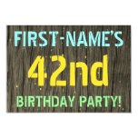 [ Thumbnail: Faux Wood, Painted Text Look, 42nd Birthday + Name Invitation ]
