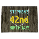 [ Thumbnail: Faux Wood, Painted Text Look, 42nd Birthday + Name Gift Bag ]