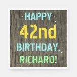 [ Thumbnail: Faux Wood, Painted Text Look, 42nd Birthday + Name Napkin ]