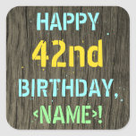 [ Thumbnail: Faux Wood, Painted Text Look, 42nd Birthday + Name Sticker ]