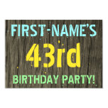 [ Thumbnail: Faux Wood, Painted Text Look, 43rd Birthday + Name Invitation ]