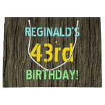 [ Thumbnail: Faux Wood, Painted Text Look, 43rd Birthday + Name Gift Bag ]