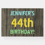 [ Thumbnail: Faux Wood, Painted Text Look, 44th Birthday + Name Guest Book ]