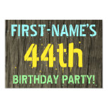 [ Thumbnail: Faux Wood, Painted Text Look, 44th Birthday + Name Invitation ]