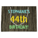[ Thumbnail: Faux Wood, Painted Text Look, 44th Birthday + Name Gift Bag ]