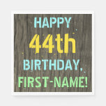 [ Thumbnail: Faux Wood, Painted Text Look, 44th Birthday + Name Napkin ]