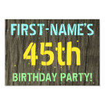 [ Thumbnail: Faux Wood, Painted Text Look, 45th Birthday + Name Invitation ]