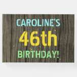 [ Thumbnail: Faux Wood, Painted Text Look, 46th Birthday + Name Guest Book ]