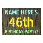 [ Thumbnail: Faux Wood, Painted Text Look, 46th Birthday + Name Invitation ]