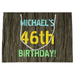 [ Thumbnail: Faux Wood, Painted Text Look, 46th Birthday + Name Gift Bag ]
