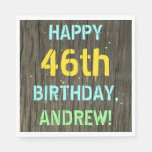 [ Thumbnail: Faux Wood, Painted Text Look, 46th Birthday + Name Napkin ]
