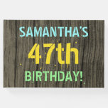 [ Thumbnail: Faux Wood, Painted Text Look, 47th Birthday + Name Guest Book ]