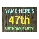 [ Thumbnail: Faux Wood, Painted Text Look, 47th Birthday + Name Invitation ]