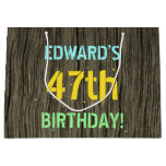 [ Thumbnail: Faux Wood, Painted Text Look, 47th Birthday + Name Gift Bag ]