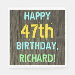 [ Thumbnail: Faux Wood, Painted Text Look, 47th Birthday + Name Napkin ]