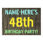 [ Thumbnail: Faux Wood, Painted Text Look, 48th Birthday + Name Invitation ]