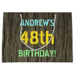 [ Thumbnail: Faux Wood, Painted Text Look, 48th Birthday + Name Gift Bag ]