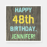 [ Thumbnail: Faux Wood, Painted Text Look, 48th Birthday + Name Napkin ]