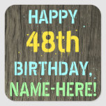 [ Thumbnail: Faux Wood, Painted Text Look, 48th Birthday + Name Sticker ]