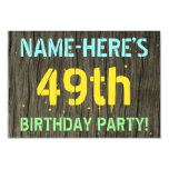 [ Thumbnail: Faux Wood, Painted Text Look, 49th Birthday + Name Invitation ]
