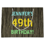 [ Thumbnail: Faux Wood, Painted Text Look, 49th Birthday + Name Gift Bag ]