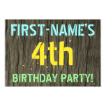 [ Thumbnail: Faux Wood, Painted Text Look, 4th Birthday + Name Invitation ]