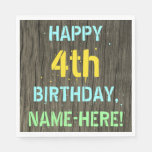[ Thumbnail: Faux Wood, Painted Text Look, 4th Birthday + Name Napkin ]