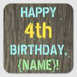 [ Thumbnail: Faux Wood, Painted Text Look, 4th Birthday + Name Sticker ]