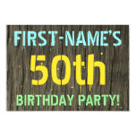 [ Thumbnail: Faux Wood, Painted Text Look, 50th Birthday + Name Invitation ]