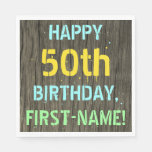 [ Thumbnail: Faux Wood, Painted Text Look, 50th Birthday + Name Napkin ]