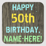 [ Thumbnail: Faux Wood, Painted Text Look, 50th Birthday + Name Sticker ]