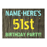 [ Thumbnail: Faux Wood, Painted Text Look, 51st Birthday + Name Invitation ]