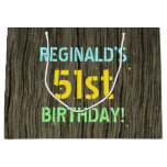 [ Thumbnail: Faux Wood, Painted Text Look, 51st Birthday + Name Gift Bag ]