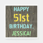 [ Thumbnail: Faux Wood, Painted Text Look, 51st Birthday + Name Napkin ]