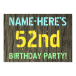 [ Thumbnail: Faux Wood, Painted Text Look, 52nd Birthday + Name Invitation ]